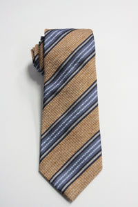 Yellow Raw Silk Tie With Blue Stripes