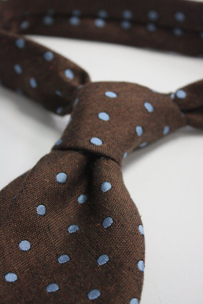 Chestnut Raw Silk With Blue Dots