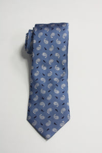 Powder Blue Tie With White and Navy Foulards