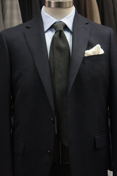Black and Grey Herringbone Wool Tie