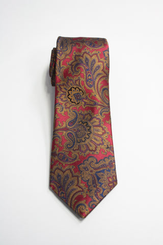 Crimson Tie With Ornate Gold Paisley