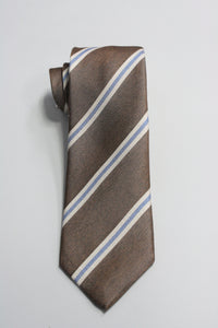 Light Brown Tie With Cream and Blue Stripe