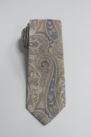 Cream Paisley Print Raw Silk Tie