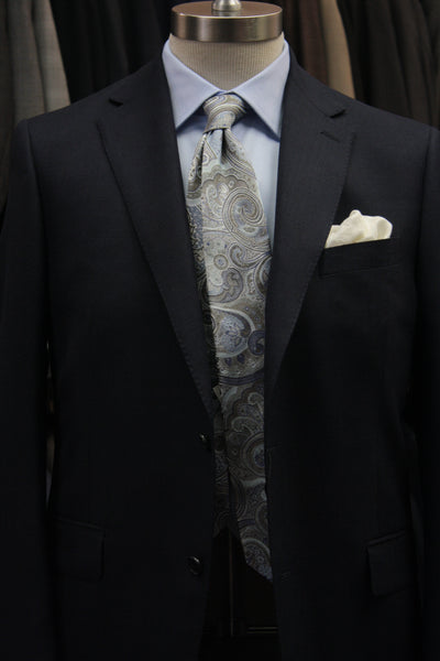Brass, Silver, and Light Blue Paisley Tie