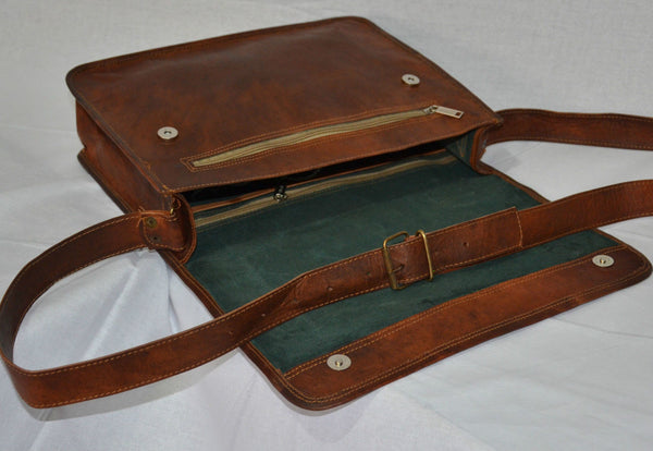 "Vintage Leather Messenger Bag for Men and Women 11"" x 9.5"" x 2.5"""