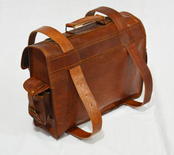 Vintage leather laptop backpack bag