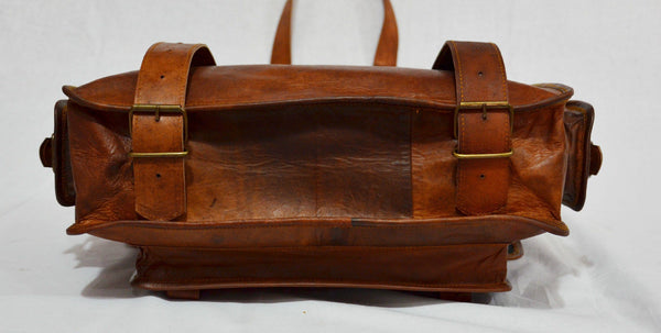 Vintage leather laptop rucksack messenger bag