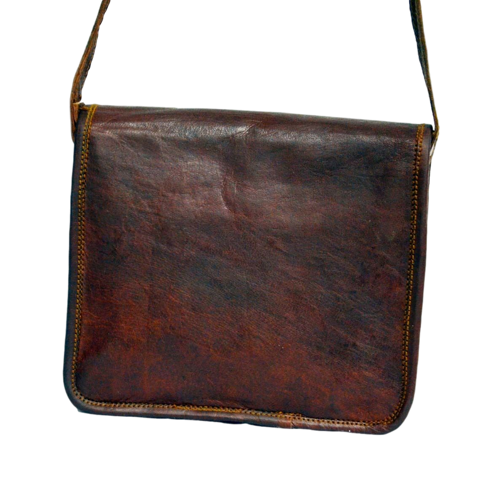 "Vintage Leather Messenger Bag for Men & Women 11"" x 8"" x 2.5"""