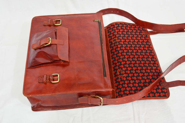 "Vintage Leather Laptop Bag for Men and Women 12"" x 16"" x 5"""