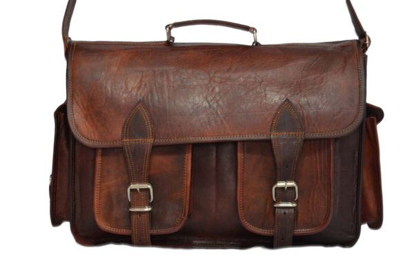 "Vintage Leather Handmade Satchel and Camera Case 16"" x 12""  x 5"""