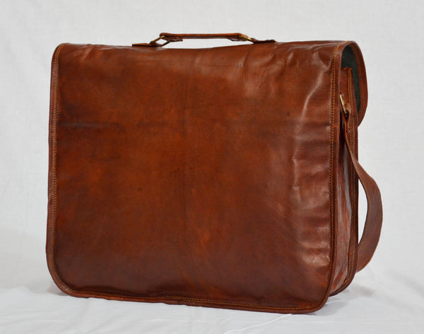 "Handmade Vintage Leather Satchel and Briefcase 15"" x 11""  x 4"""