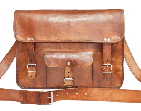 handmade vintage leather laptop bag