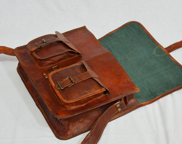 "Vintage Leather Handmade Satchel and Briefcase 15"" x 11""  x 4"""