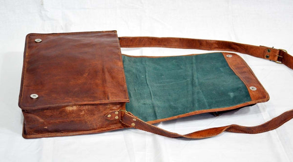 "Vintage Leather Handmade Satchel and Briefcase 14"" x 11""  x 4"""