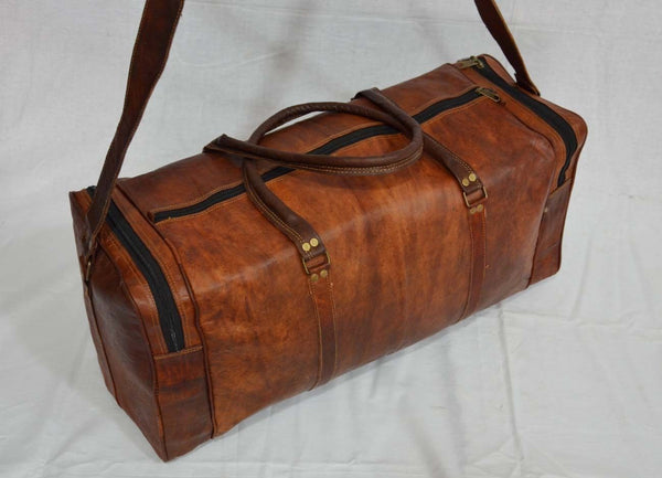 real  leather travel luggage bags