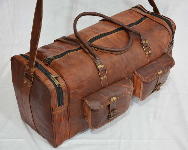 leather handmade travel  bags hand luggage