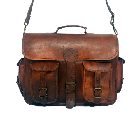 "Vintage Leather Satchel and Shoulder Bag with Pockets 12"" x 15"" x 4.5"""