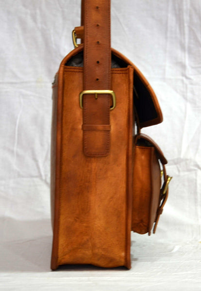 handmade real leather vintage leather laptop bag for men