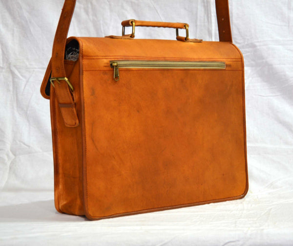 handmade real leather mens laptop bag