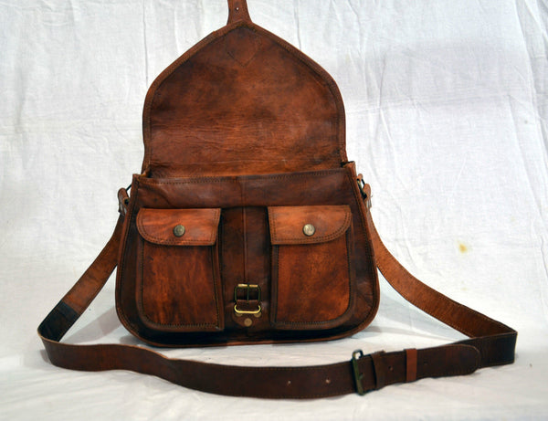 "Women's Vintage Leather Handmade Satchel Bag  12"" x 9""  x 4"""