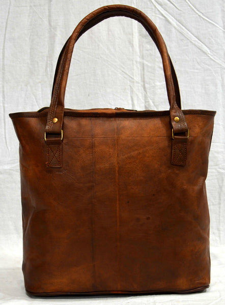 Ladies vintage leather tote bag