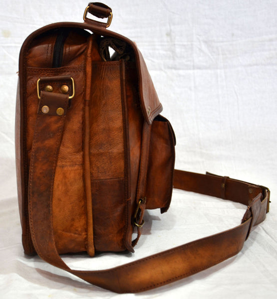 "Vintage Leather Laptop Bag and Satchel Bag 12"" x 16"" x 4.5"""