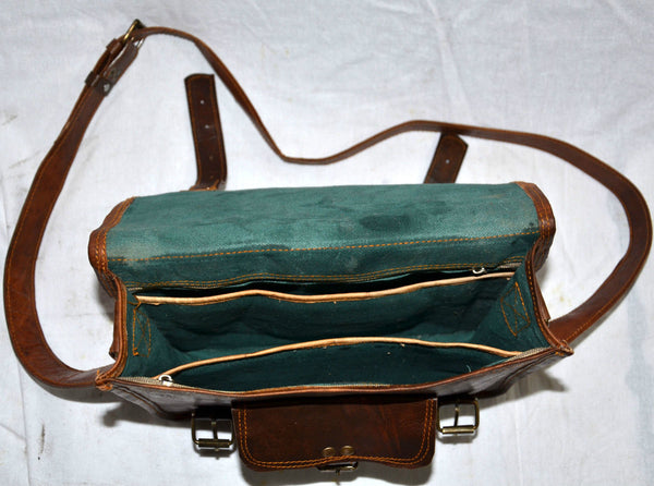 "Women's Vintage Leather Handmade Satchel Bag 11"" x 9"" x 3"""