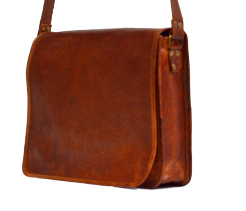 "Vintage Leather Messenger Bag for Men & Women 9"" x 7"" x 2.5"""