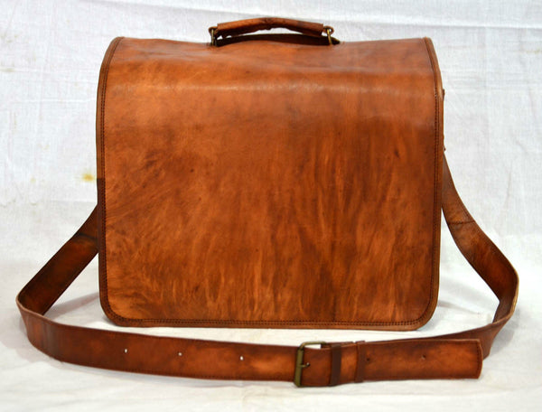 "Vintage Leather Messenger Bag for Men and Women 14"" x 11"" x 7"""