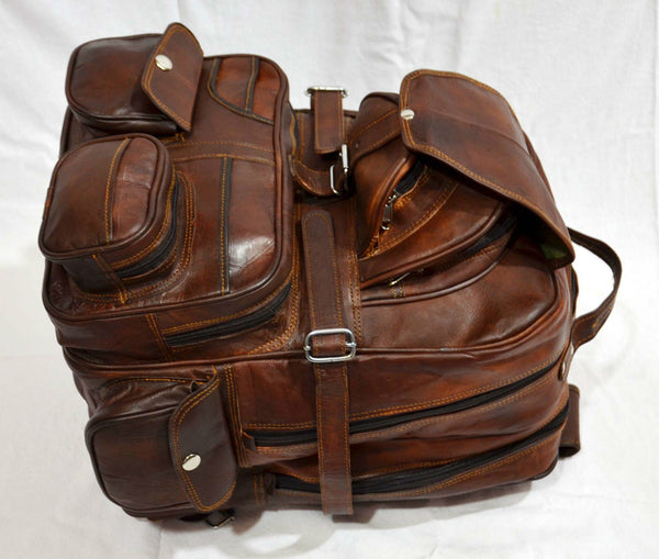 large vintage leather rucksack  for men