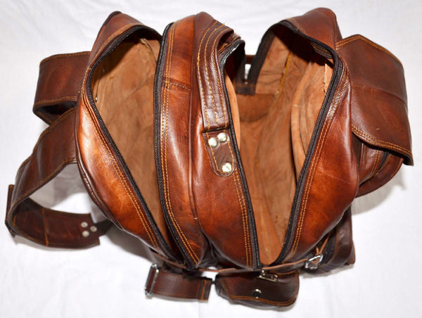 large vintage leather rucksack backpack
