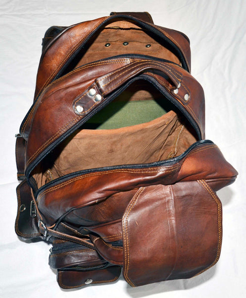 large vintage leather rucksack