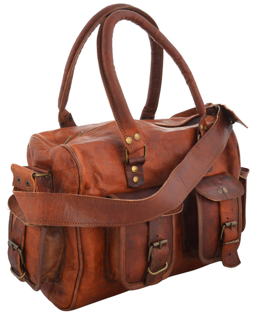 Leather tote bag or travel bag
