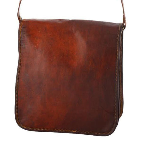 "Vintage Leather Messenger Bag for Men & Women 11"" x 9"" x 2.5"""