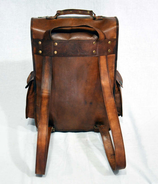 genuine vintage leather rucksack