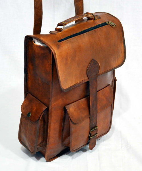 real  vintage leather rucksack backpack