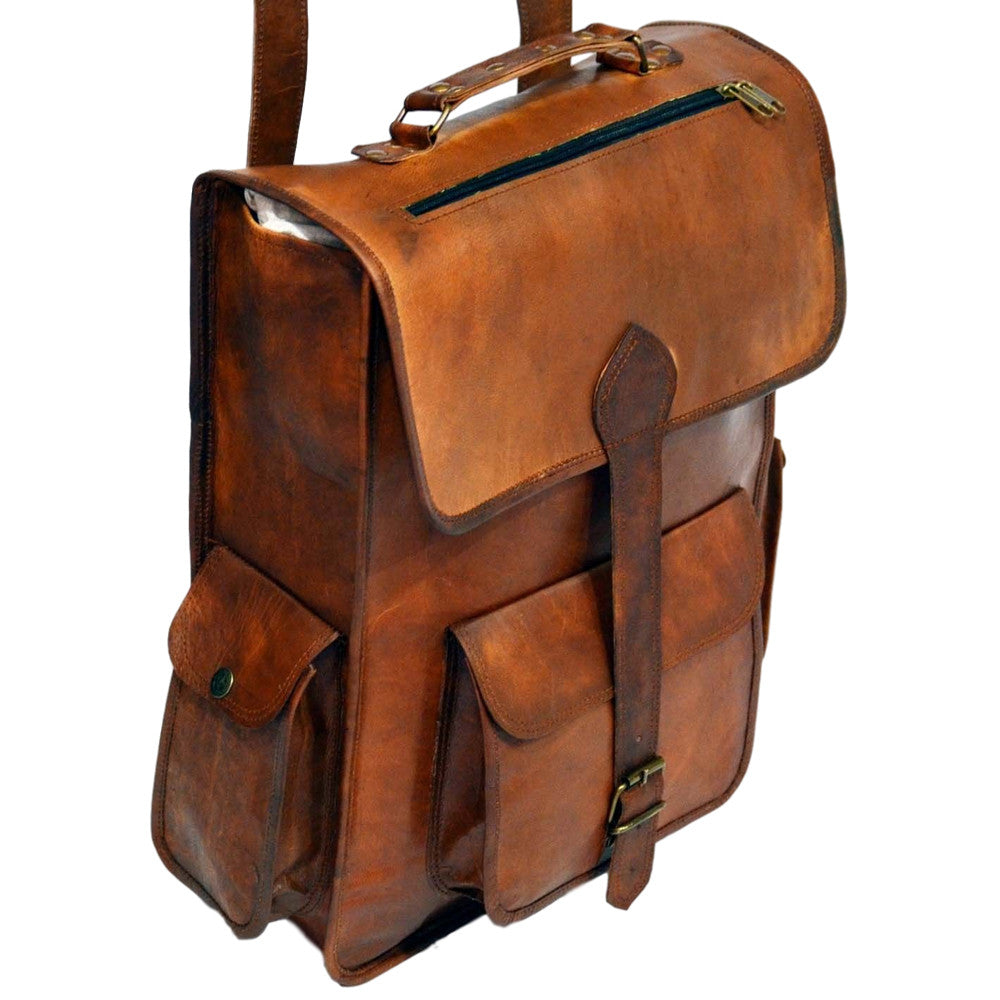 handmade vintage leather mens rucksack