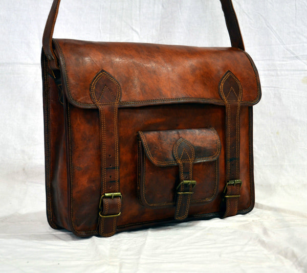 real  vintage leather laptop bags for men