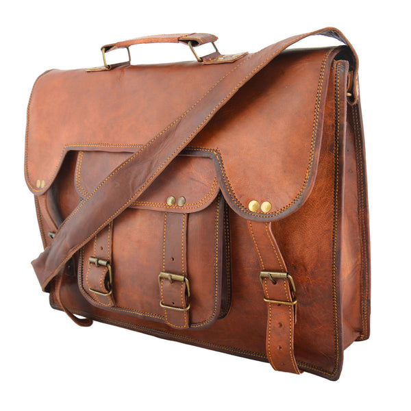 handmade vintage leather mens laptop bag