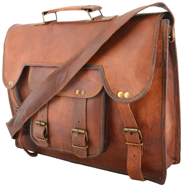 mens handmade vintage leather laptop bag