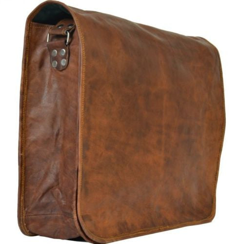 "Vintage Leather Messenger Bag for Men & Women 11"" x 15"" x 2.5"""