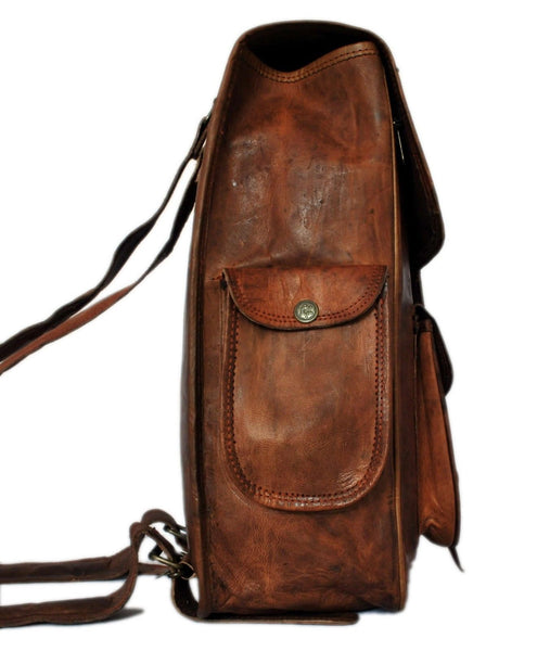 "Vintage Leather Laptop Rucksack with Large Pockets, 11"" x 15"" x 5"""