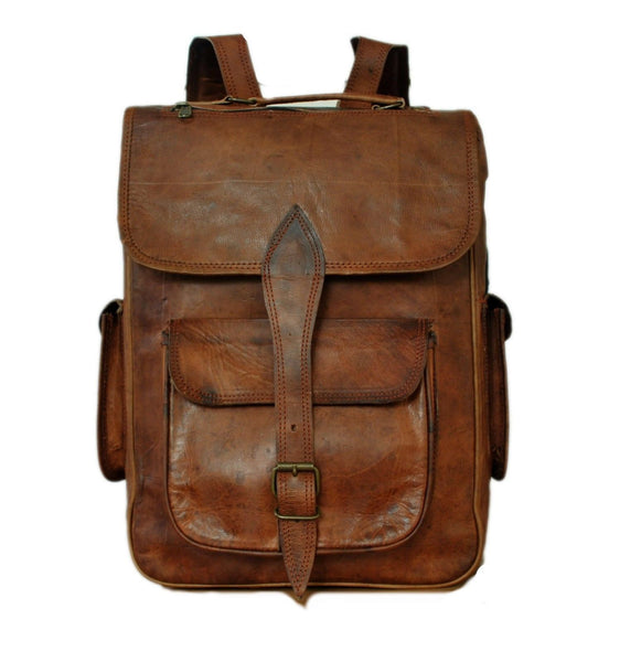 vintage leather rucksack for men