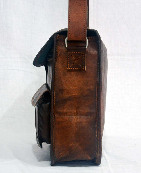"Vintage Leather Messenger Bag for Men and Women 11"" x 15"" x 4"""