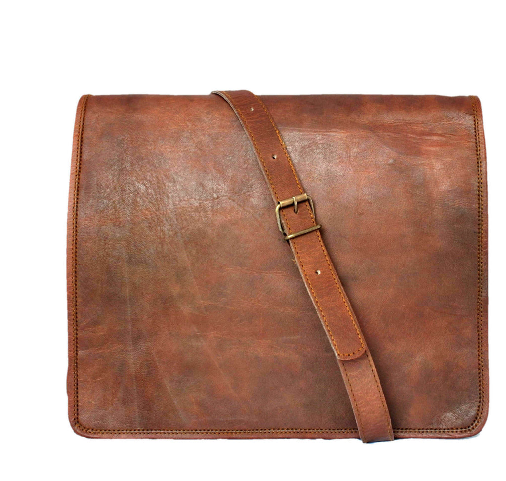 "Vintage Leather Messenger Bag for Men and Women 15"" x 11"" x 4"""