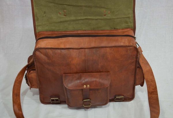 Vintage leather laptop messenger bag handmade