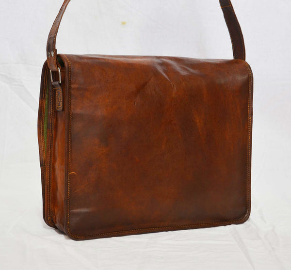 "Vintage Leather Messenger Bag with Secure Pockets 11"" x 15"" x 4"""