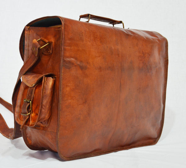 Mens vintage leather satchel messenger