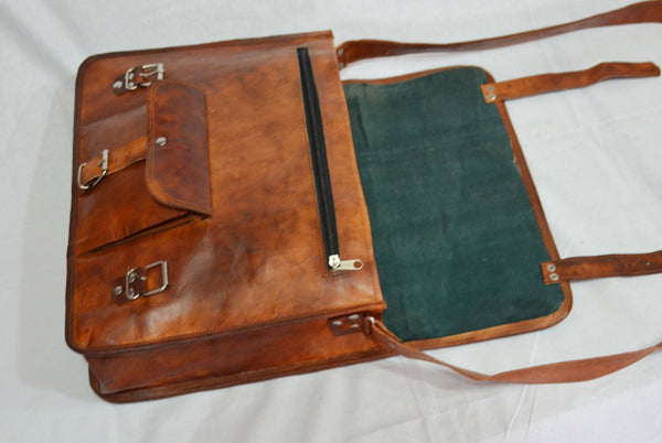 vintage leather laptop bag  satchel