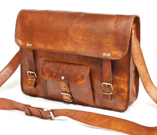 leather laptop satchel  handmade